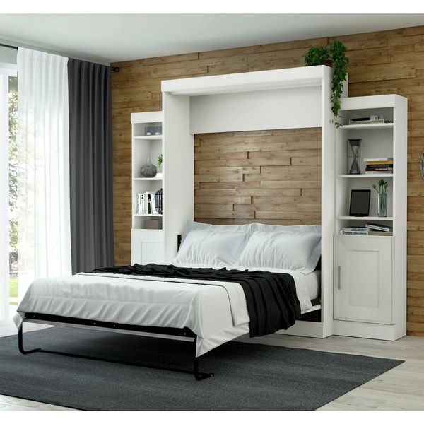 Edge by Bestar Queen Wall Bed with Two 21-inch Storage Units and Doors