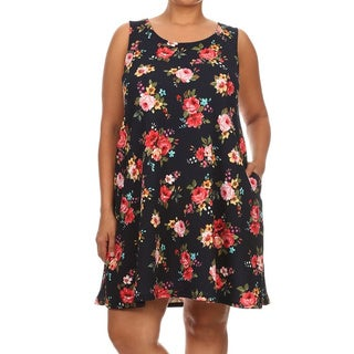 MOA Collection Plus Women's Polyester/Spandex Sleeveless Floral Dress