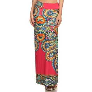 MOA Collection Women's Multicolored Polyester/Spandex Paisley Print Maxi Skirt