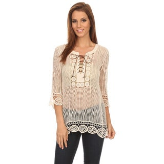 MOA Collection Women's Crochet Lace Top