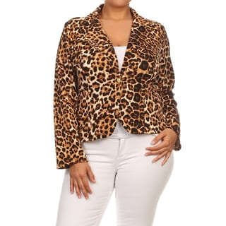 MOA Collection Women's Brown Polyester/Spandex Plus-size Animal-print Blazer