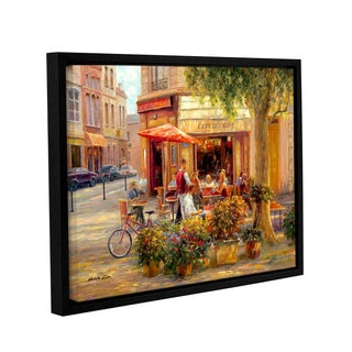 Haixia Liu's 'Caf Corner, Paris' Gallery Wrapped Floater-framed Canvas