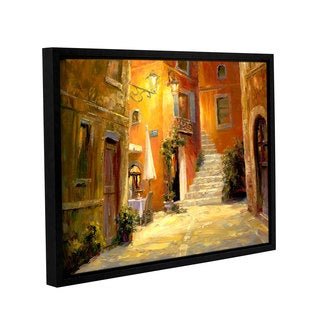 Haixia Liu's 'Lighted Alley ' Gallery Wrapped Floater-framed Canvas