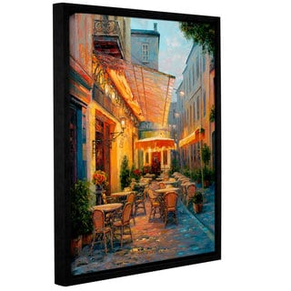 Haixia Liu's 'Cafe Van Gogh' Gallery Wrapped Floater-framed Canvas