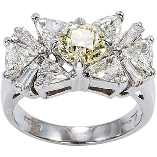 Platinum 3 4/5ct TDW Cocktail Diamond Ring (H-I / Yellow, SI1-SI2)