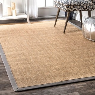 nuLOOM Handmade Alexa Eco Natural Fiber Cotton Border Sisal Light Grey Rug (8'10 x 12')