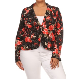 MOA Collection Women's Multi-color Polyester, Spandex Plus Size Floral Blazer