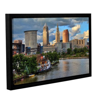 Greg Murray's 'Cleveland Skyline Color' Gallery Wrapped Floater-framed Canvas