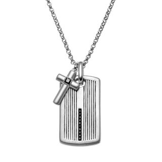 JewelMore White Sterling Silver 1/4k T.W. Black Diamond Men's Cross Link Textured Dog Tag Necklace