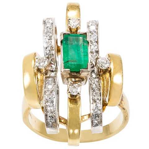 14k Two-tone Gold 1/2ct TDW Diamonds and Emerald Patterned Estate Ring (G-H, SI1-SI2)