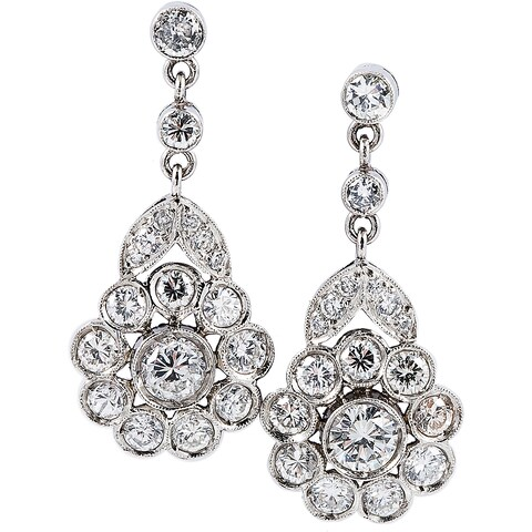 Platinum 2ct TDW Antique Flower Diamond Earrings (G-H, VS1-VS2)
