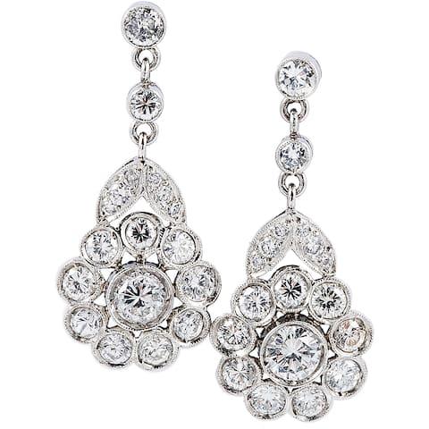 Platinum 2ct TDW Antique Flower Diamond Earrings (G-H, VS1-VS2)