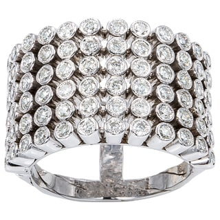 14K White Gold 3ct TDW Six-Row Wide Diamond Band Estate Ring (H-I, SI1-SI2)