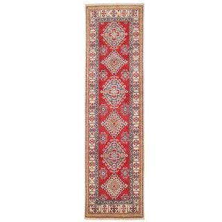 Herat Oriental Afghan Hand-knotted Kazak Red/ Ivory Wool Runner (2'11 x 11')