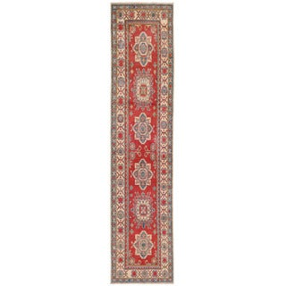 Herat Oriental Afghan Hand-knotted Kazak Red/ Ivory Wool Runner (2'6 x 11'2)