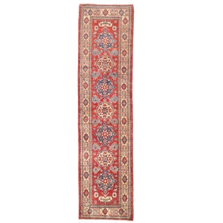 Herat Oriental Afghan Hand-knotted Kazak Red/ Ivory Wool Runner (2'5 x 10'5)