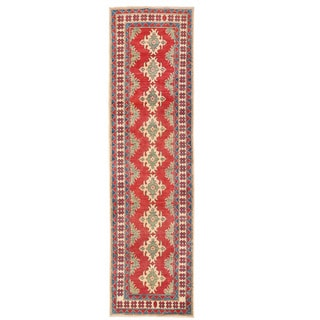 Herat Oriental Afghan Hand-knotted Kazak Red/ Ivory Wool Runner (2'8 x 10'3)