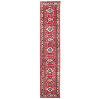 Herat Oriental Afghan Hand-knotted Kazak Red/ Ivory Wool Runner (2'5 x 11'7)