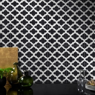 Lantern Black & White Handmade Cement and Granite Moroccan Tiles (Morocco)