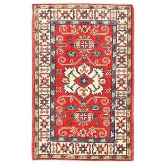 Herat Oriental Afghan Hand-knotted Kazak Red/ Ivory Wool Rug (2'7 x 4'2)