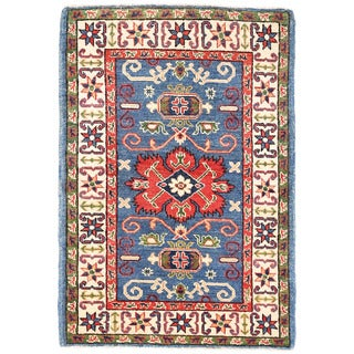 Herat Oriental Afghan Hand-knotted Kazak Light Blue/ Ivory Wool Rug (2'9 x 4')