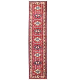 Herat Oriental Afghan Hand-knotted Kazak Red/ Ivory Wool Runner (2'2 x 9'9)