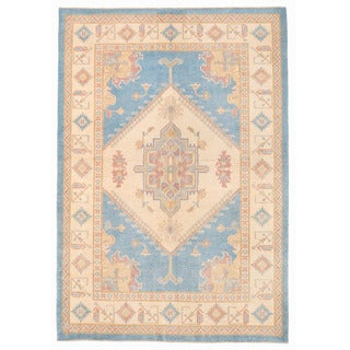 Herat Oriental Afghan Hand-knotted Kazak Light Blue/ Ivory Wool Rug (6' x 8'10)