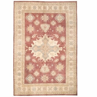 Herat Oriental Afghan Hand-knotted Kazak Burgundy/ Ivory Wool Rug (9'11 x 14'2)