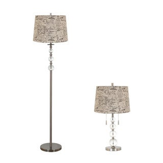 Tan Iron/Glass Table and Floor Lamp (Set of 2)