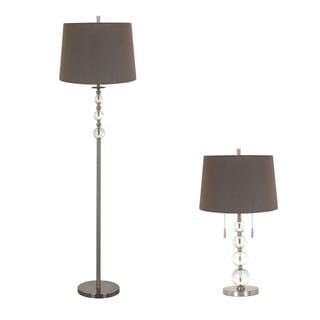 Grey Iron, Glass 2 Light Hardback Shade Lamp Set (Set of 2)