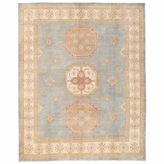 Herat Oriental Afghan Hand-knotted Kazak Light Blue/ Ivory Wool Rug (7'10 x 9'7)
