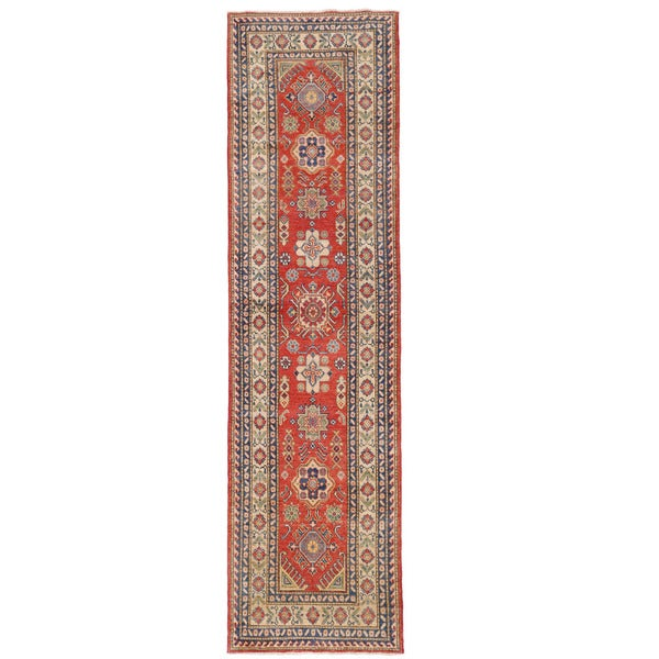 Herat Oriental Afghan Hand-knotted Kazak Wool Runner - 2'7 x 10'4