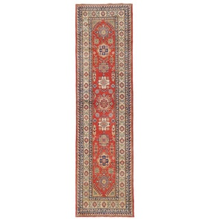 Herat Oriental Afghan Hand-knotted Kazak Red/ Ivory Wool Runner (2'7 x 10'4)