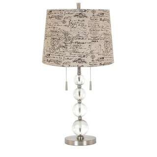 Stacked Acrylic/Glass Ball Beige Linen Shade 28-inch Twin Pull-chain Table Lamp