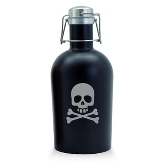 Skull and Crossbone Black Stainless Steel Beer Growler
