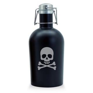 Skull and Crossbone Black Stainless Steel Beer Growler