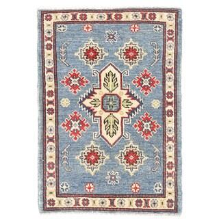 Herat Oriental Afghan Hand-knotted Kazak Light Blue/ Ivory Wool Rug (1'11 x 2'9)