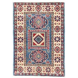 Herat Oriental Afghan Hand-knotted Kazak Light Blue/ Ivory Wool Rug (2' x 2'11)