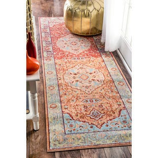 nuLOOM Traditional Floral Oriental Border Orange Runner Rug (2'6 x 8')