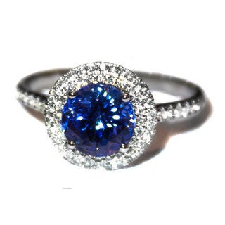 California Girl Jewelry 18k White Gold Tanzanite Diamond Ring