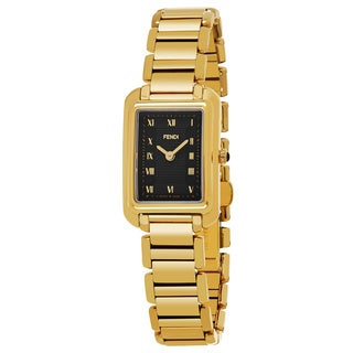 Fendi Women's F701421000 'Classico Rectangle' Black Dial Goldtone Stainless Steel X-Small Swiss Quartz Watch