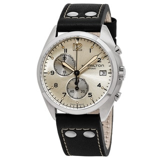 Hamilton Men's H76512755 'Khaki Aviation' Silver Dial Black Leather Strap Pilot Pioneer Swiss Quartz Watch