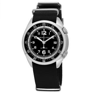 Hamilton Men's H76455933 'Khaki Aviation' Black Dial Black Nylon Strap Pilot Pioneer Swiss Automatic Watch|https://ak1.ostkcdn.com/images/products/11977112/P18859296.jpg?impolicy=medium