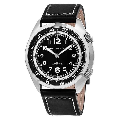 Hamilton Men's H76455733 'Khaki Aviation' Black Dial Black Leather Strap Pilot Pioneer Automatic Watch