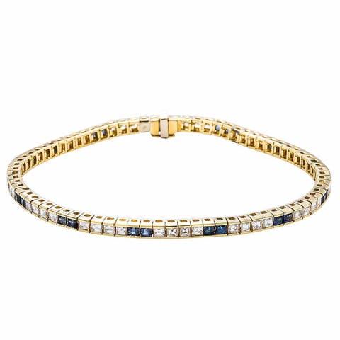 18K Yellow Gold 4ct TDW Alternating Diamonds and Sapphires Tennis Bracelet (G-H, VS1-VS2)