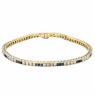 18K Yellow Gold 4ct TDW Alternating Diamonds and Sapphires Tennis Bracelet (G-H, VS1-VS2)