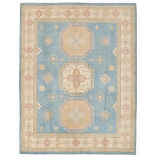 Herat Oriental Afghan Hand-knotted Kazak Light Blue/ Ivory Wool Rug (7'9 x 9'10)