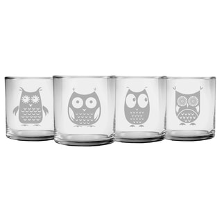 Owl Collection Slim Rocks Glass (Set of 4)