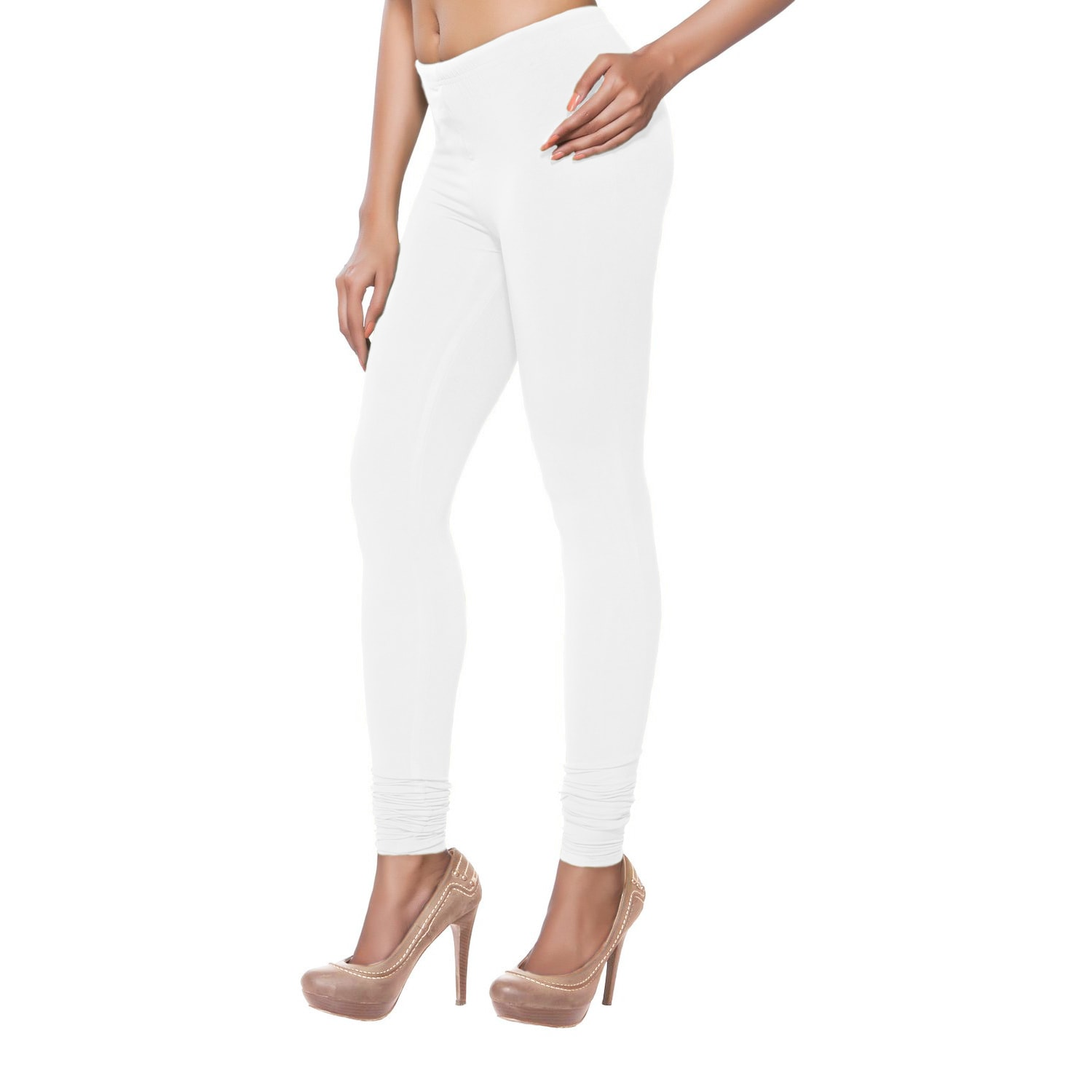 In-Sattva Women's White Solid Color Leggings (India) (Whi...