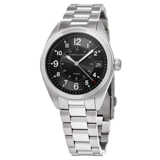 Hamilton Men's H68551933 'Khaki Field' Black Dial Stainless Steel Swiss Quartz Watch